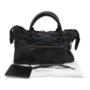 Auth Balenciaga Giant City Shoulder Handbag Black